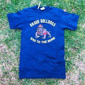 Vintage Hanes Bravo Bulldogs Blue Graphic Made in